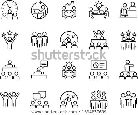 üzleti megbeszélés ikon vektor skicc illusztráció felirat Stock fotó © pikepicture