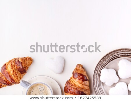 круассаны Cookies Кубок кофе белый деревянный стол Сток-фото © katya_sorokopudo