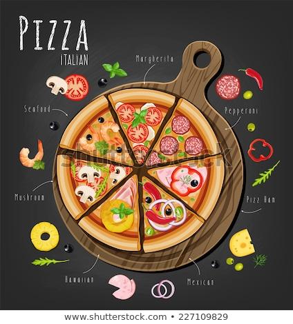 Owoce morza włoski pizza plakat wektora Zdjęcia stock © pikepicture