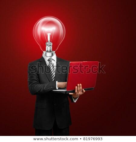 üzletember · piros · laptop · drága · öltöny · épület - stock fotó © leedsn