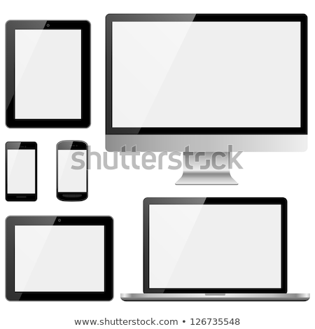 Tablet and desktop computer with black screen on a white background. Stock photo © kyryloff