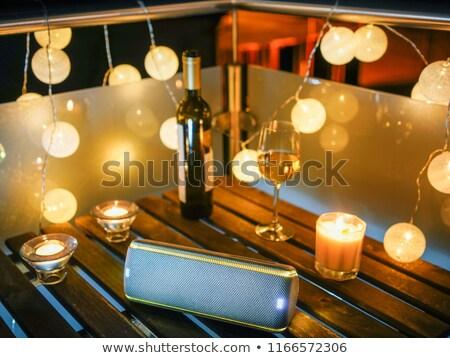 Gyertyák harapnivalók asztal terasz fehér tányér Stock fotó © dashapetrenko