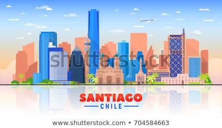Santiago Chile sziluett szürke épületek kék ég Stock fotó © ShustrikS
