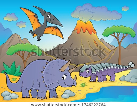 Dinosaurs near volcano image 1 Stock photo © clairev