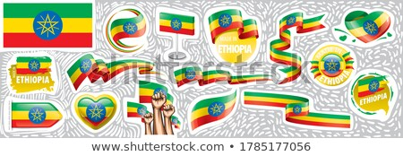 Vector set of the national flag of Ethiopia in various creative designs Stock photo © butenkow
