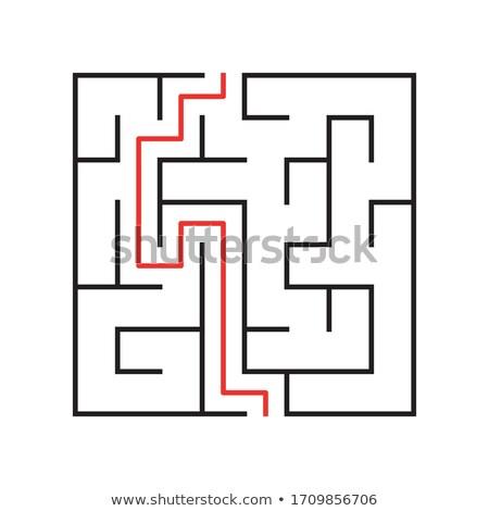 Skomplikowany czerwony ścieżka rozwiązanie odizolowany biały Zdjęcia stock © evgeny89
