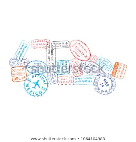 Heldere kleurrijk immigratie postzegels auto vorm Stockfoto © evgeny89