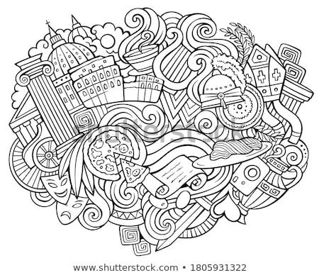 Rome hand drawn cartoon doodles illustration. Funny travel design. Stock photo © balabolka