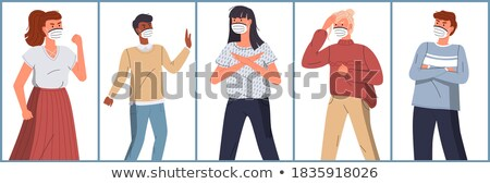 Vector characters in face medical masks protesting against coronavirus, world epidemic of covid19 Stock photo © robuart