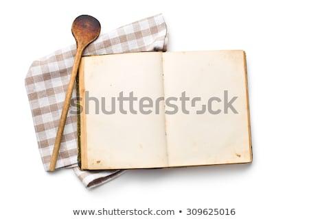 Yemek kitabı mutfak gereçleri yalıtılmış beyaz doku gıda Stok fotoğraf © borysshevchuk