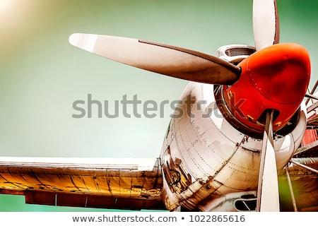 Repülőgép propeller kettő technológia mező kék Stock fotó © joyr