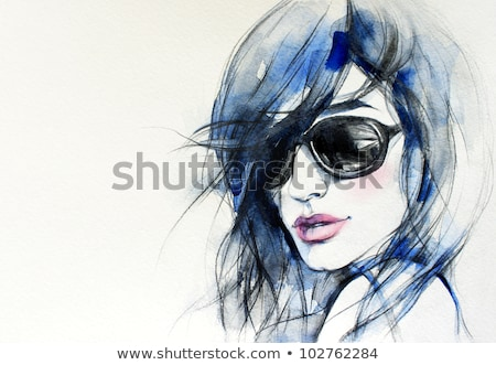 Stock photo: creative hand painted fashion illustration