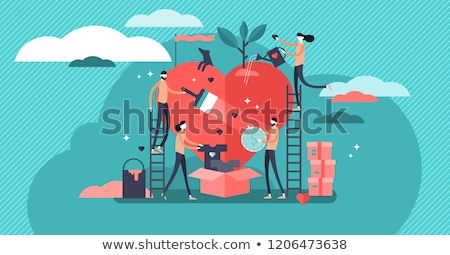 Charity.  Concept of a person helping poor people. Stock photo © dacasdo