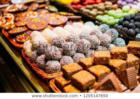 砂糖漬けの 果物 砂糖 市場 表示 食品 ストックフォト © lunamarina