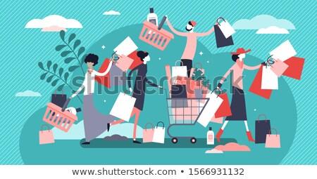 Vásárlás őrület nő tart bevásárlótáskák fej Stock fotó © smithore