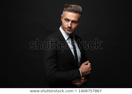retrato · empresário · terno · preto · branco · cara · homem - foto stock © RuslanOmega