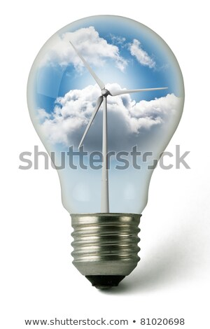 Lightbulb used with clean electricity from wind Stock photo © rufous