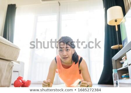 asiático · mulher · trabalhando · pesos · belo · jovem - foto stock © piedmontphoto