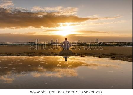 Séance méditation jeune femme méditer Lotus poste Photo stock © ldambies