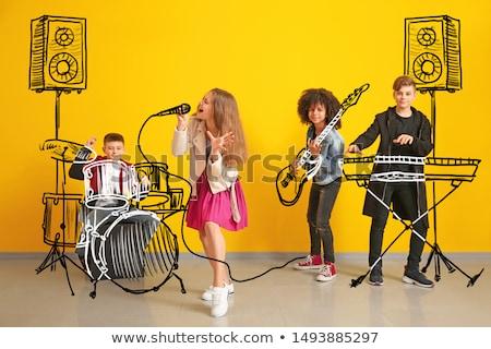 énekel · zenekar · sziluett · izolált · fehér · nő - stock fotó © dece