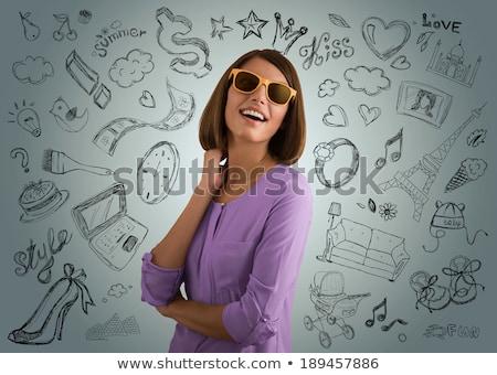 Vrouw planning droom vakantie mooie jonge Stockfoto © stryjek