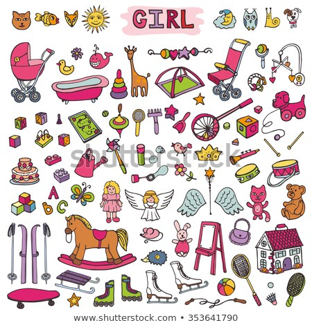 мало · Kid · девушки · играет · ребенка · кукла - Сток-фото © carodi