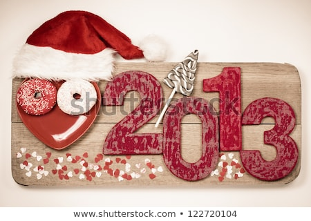 Wooden 2013 year number and Santa's hat Stock photo © AndreyKr