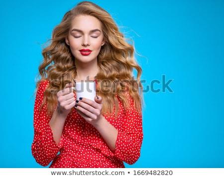 ストックフォト: かわいい · 小さな · 女性 · カップ · コーヒー · 肖像