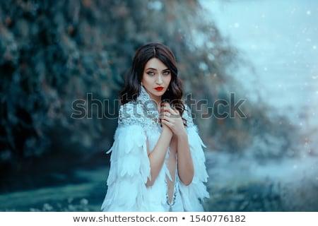 sad blue eyed angel portrait stock photo © dolgachov