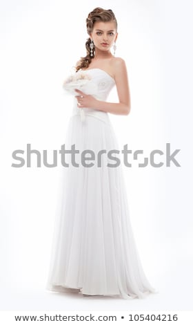 Alluring bride posing in bridal white dress - studio shot Stock photo © gromovataya