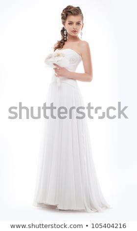 elegante · mujer · de · moda · vestido · posando · estudio - foto stock © gromovataya