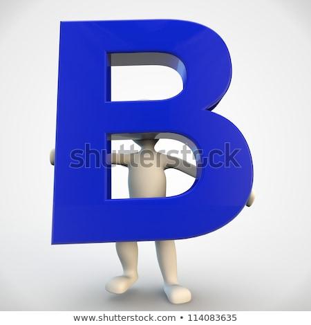 Karakter Blauw brief 3d render Stockfoto © Giashpee