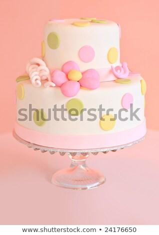 fehér · esküvői · torta · ezüst · dekoráció · asztal · étel - stock fotó © gsermek
