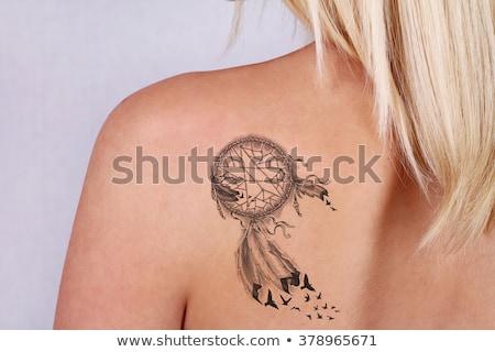 tetoválás · hát · fiatal · nő · izolált · test · haj - stock fotó © acidgrey