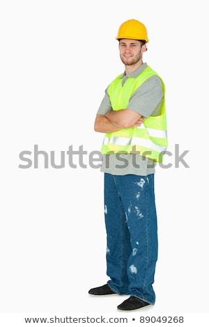 側面図 笑みを浮かべて 小さな 建設作業員 腕 折られた ストックフォト © wavebreak_media
