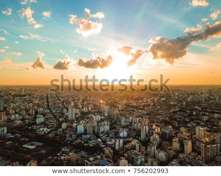 Buenos Aires naplemente vibráló nyár fák előtér Stock fotó © jkraft5
