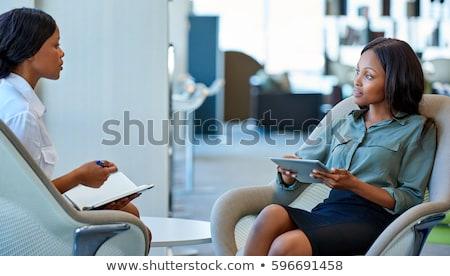 afrikai · üzletasszony · irodai · szék · rövid · mosolyog · barna - stock fotó © Forgiss