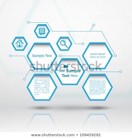 forum with speech bubbles sign in blue hexagon button stock photo © marinini