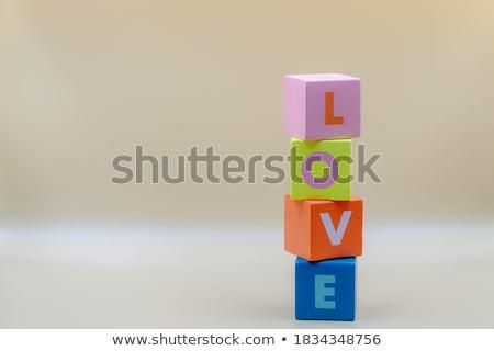 szó · szeretet · tarka · fából · készült · kockák · fa - stock fotó © deyangeorgiev