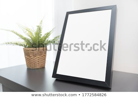 White Abstract Rectangle Frame Standing in the Gray Room stock photo © maxpro