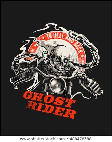 fantasma · fumar · esqueleto · equitação · motocicleta - foto stock © misha