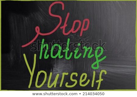 jezelf · kleurrijk · woorden · Blackboard · business · licht - stockfoto © ansonstock