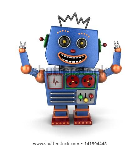 Stok fotoğraf: Ecstatic Vintage Toy Robot