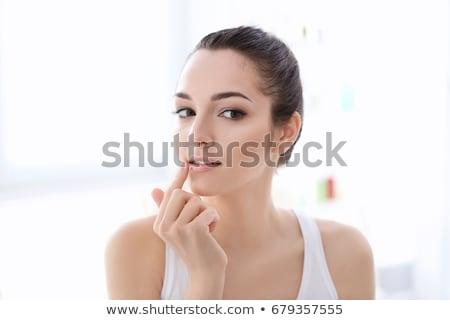 sarışın · kadın · makyaj · banyo · renk · ayna - stok fotoğraf © arenacreative