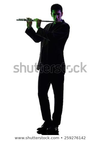 тень музыканта играет флейта музыку солнце Сток-фото © meinzahn