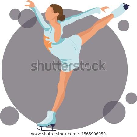 desenho · animado · patinador · menina · mulher · projeto · arte - foto stock © orensila