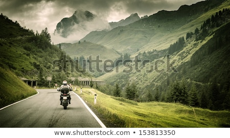motoros · hegyek · lovaglás · görbe · út · Alpok - stock fotó © Anna_Om