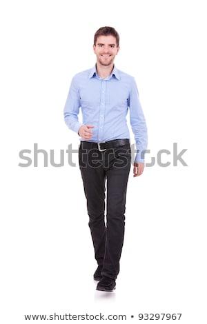 fiatal · lezser · férfi · kék · póló · portré - stock fotó © feedough
