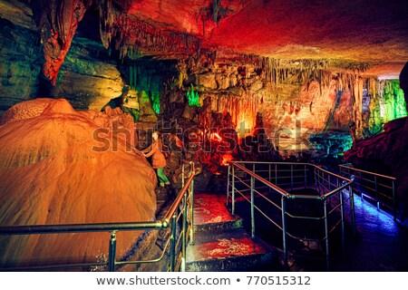 Jaskini Gruzja kolorowy światła charakter Zdjęcia stock © joyr