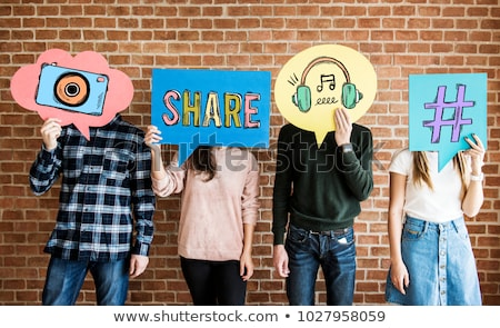 Social Media Wand Sprechblase Symbol Ziegel Business Stock foto © tashatuvango